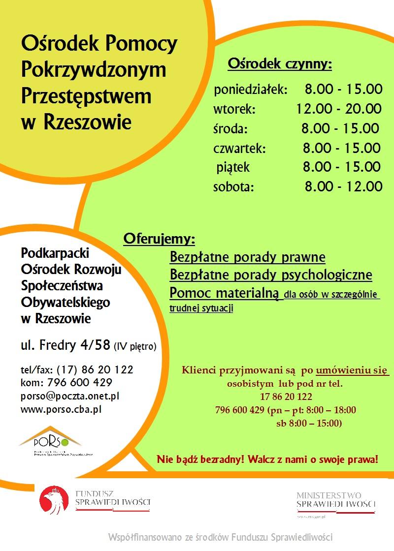 Plakat Ośrodka Pomocy Pokrzywdzonym Przestępstwem w Rzeszowie