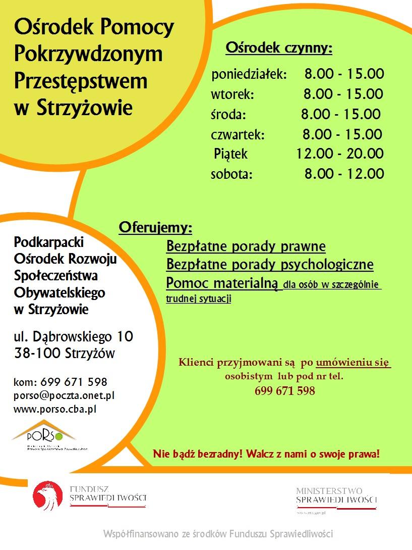 Plakat Ośrodka Pomocy Pokrzywdzonym Przestępstwem w Strzyżowie